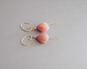 Flower earrings, polymer clay drop earrings, silver plated, wedding jewelry,