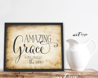 Hymn Print Quote, Amazing Grace INSTANT DOWNLOAD 8x10 Printable, Inspirational Quote, Vintage Music Print, Scripture Hymn, Musical Print DIY