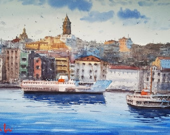The Tower, Istanbul Watercolor Painting Art Print
