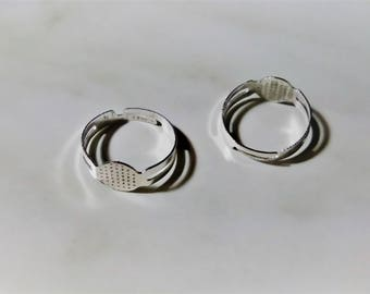 10pc Ring Blanks, Silver Plated Ring Base, Blanks for Rings, Adjustable Ring, Ring Blank with Side Hole, Jewelry Supplies, Silver Ring Blank