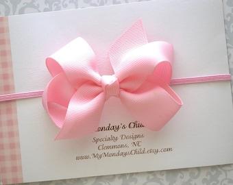 Pink Baby Bow Headband or Hair Clip, Pink Bow Headband, Boutique Bows, Baby Headband, Pink Hair Bow, Newborn, Toddler Headband, Toddler Bows
