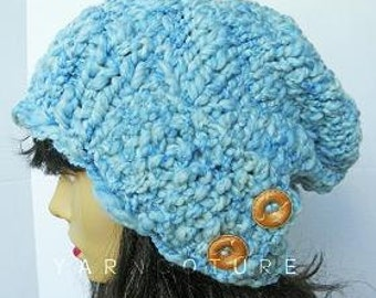 The SAHLAN Hat - Thick Slouchy Hat - Sky Blue w/Satin Lining Option - Fall/Winter Fashion