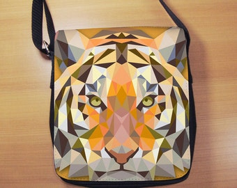Geometric Tiger Small Shoulder Bag, Triangle Tiger, Small Crossbody Bag, Small CrossBody Purse, Cross Body Bag, Sling Bag, Small Purse, Bag
