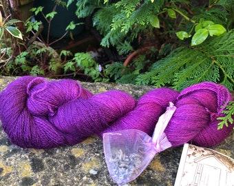 "100grms hand painted baby alpaca silk cashmere laceweight yarn ""plum"""