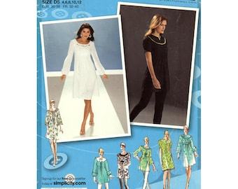 Yoked Tunic or Dress Pattern Simplicity 3530 Short or Long Puff Sleeve Dress or Top Project Runway Womens Sewing Pattern Size 4 to 12 UNCUT