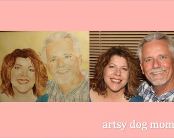 Custom Portrait from photograph, watercolor painting commission 8 x 10