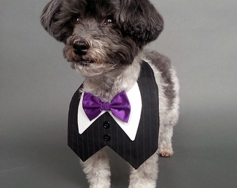Black Pin Striped Dog Tux, Dog Wedding Tuxedo Vest with Bow Tie Color of Your Choice