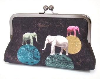 Elephants clutch bag, original silk purse, white elephant, circus