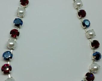 Red White and Blue. Swarvoski  gem  necklace