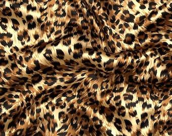 Apparel Fabric, Clothing Fabric, Cheetah Black/Brown/Tan Satin, Scarf Fabric, Dress Fabric, Blouse/Belt/Sash Fabric, Home Decor