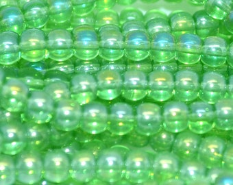 50 beads round 4mm peridot green AB glass