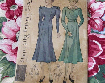 30s Dress Pattern - Princess Dress - Simplicity Pattern - Fitting & Adjusting Guide - Detailed Sewing and Finishing Instructions - Size 20
