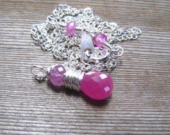September Birthstone Pink Sapphire Necklace,  Sterling Silver Wire Wrapped Pink Gemstone Pendant