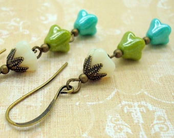 Blue and Green Flower Earrings with Patina Brass and Glass Floral Drops in the Boho Style