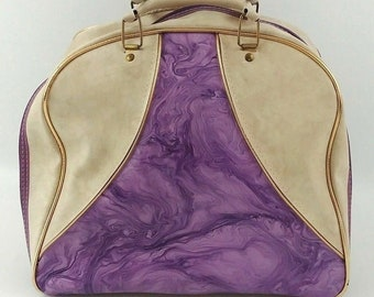 Vintage 1970s Bowling Ball Bag, Purple Marbled and Cream Naugahyde, 12x12x9, No Rack