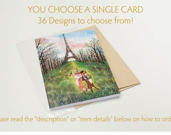 YOU CHOOSE a Single CARD / 35 designs / Animal Card / Birthday / Baby Shower / Anniversary  / Wedding / Holiday Card / Easter / Mothers Day