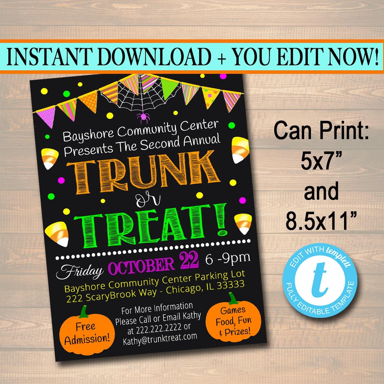 EDITABLE Trunk or Treat Flyer/Invitation Printable Halloween