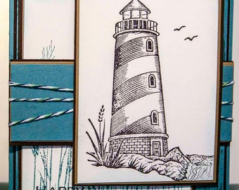 Father's Day Card, Lighthouse Card, Pastor Card, Encouragement Card, Handmade Card, Greeting Card, Handcrafted Card,