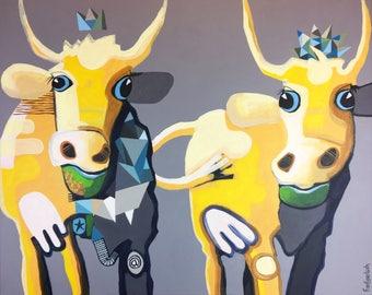 AB-Squirrel-Original acrylic painting, contemporary art, Pop Art, 80 x 100 cm, canvas