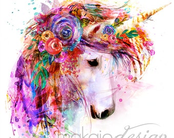Bright Colorful Unicorn Flower Painting Mixed Media Wall Art Print