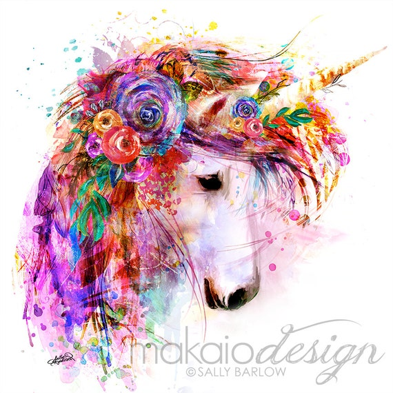 Bright Colorful Unicorn Flower Painting Mixed Media Wall Art