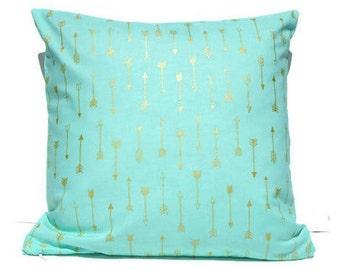 Mint Metallic Arrow Pillow Cover, Tribal Nursery Baby Decor, Aztec Nursery Pillow Cover