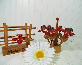 Wooden Napkin Holder & Meat Skewers Wood Set Red Bull Heads Free Shipping Vintage Retro Wood Napkin Corral 6 Beef Identifier Picks 8 Pieces