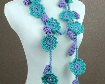 CROCHET PATTERN - Crochet Flower Scarf Pattern, Crochet Scarf Pattern, Flower Lariat Pattern, Easy Crochet Pattern, Beginner Crochet