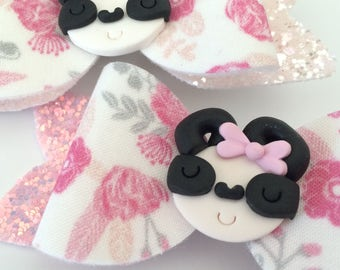 Panda Hair Bow - Glitter and Floral Bow - Panda Bow - Panda - Clay Panda