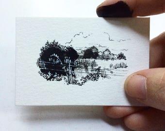 Inktober 24 / original tiny art piece / ink sketch on watercolor paper
