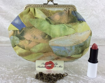 Dragonfly Wings small frame handbag purse bag fabric clutch shoulder bag frame purse kiss clasp bag Handmade Insects