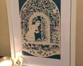 The Secret Garden, papercut, fairy tale, art, wall art, paper art, wedding gift, anniversary gift, birthday gift