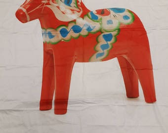 "Fabric white red Swedish Dala horse Dalarna EXTRA LARGE piece 59""x80"" 149x204cm Cotton Fabric Scandinavian Design Scandinavian Textile"