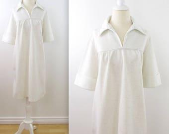 Vanilla Cream A Line Shift Dress - Vintage 1970s Day Dress