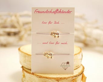 Friendship Bracelet Set ~ Elephant ~ Gold