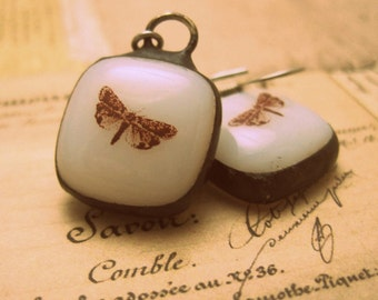 Fused Glass Moth Earrings - white stained glass w/ dark patina