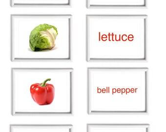 Flash cards, ABC flashcards, vegetables flashcards. Large flash cards. Flashcard printable pdf. Black font/ redcolour flashcards.