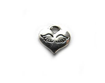 10 Silver Angel Wing Heart Charms