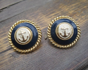Nautical Anchor Vintage Blue and Gold Retro Earring Studs   Enamel   Gifts for HER