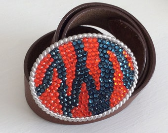 Blue and Orange Crystal Tiger Stripe Team Bling Belt Buckle Auburn Inspired