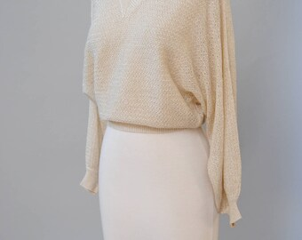 Vintage Metallic Sweater 70s 80s BOHO Lurex Gold Knit Semi Sheer Metallic Sweater V Neck Pullover S M