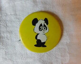 Vintage 1972 Hippie Era Pin Pinback Button with a Cartoon Panda by Paula  DR28