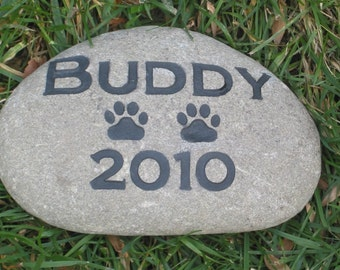 Personalized Dog Cat Memorial Stone Grave Marker 8-9 Inch Memorial Burial Cemetery Stone Grave Marker
