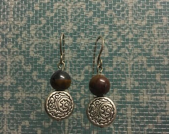 Silver & jasper earrings