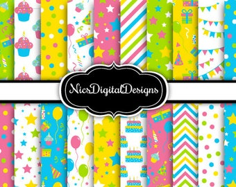 20 Digital Papers. Birthday Papers in Green Blue Yellow Pink 2 (2F no 5) for Personal Use and Small Commercial Use Scrapbooking
