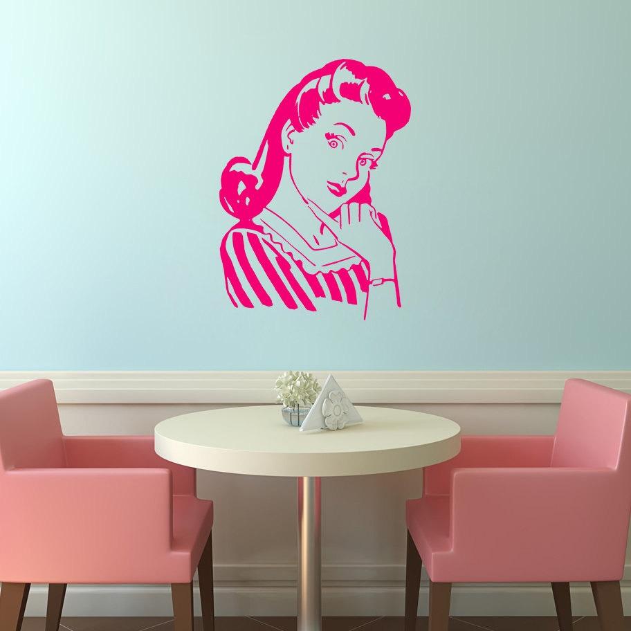 Wand Aufkleber Retro Frau Wandtattoo Küche lustige