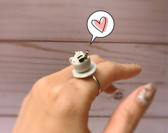 20% Off!! Teacup Ring, Miniature Ring, Saucer Ring