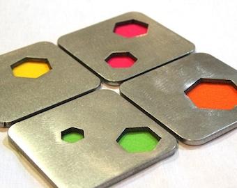 Neon Hexagon Coaster Set of 4, Steel, Geometry