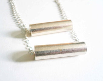 Modern necklace Sterling Silver necklace Layered necklace Tiered necklace Geometric necklace Bar necklace Mod necklace Vintage necklace