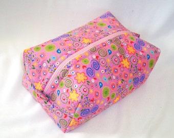 Pink Makeup Bag, Cosmetic Bag, Boxy Bag, Zipper Pouch, Toiletry Bag, Blue, Yellow, Green, Flowers, Travel Case, Purse Organizer